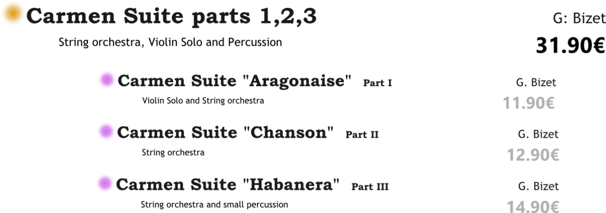 Carmen Suite parts 1,2,3 PACK