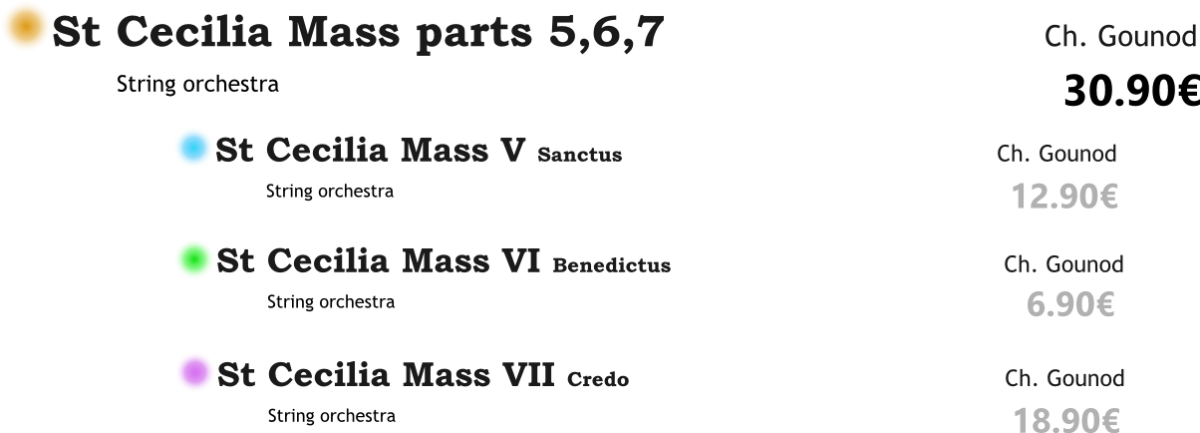 St Cecilia Mass parts V-VII PACK